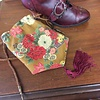 Deep Gold Floral Japanese Fabric Reticule with Burgundy Tassel (520)