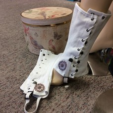 White Heavy Canvas Spats w/ Copper Medallions (520)