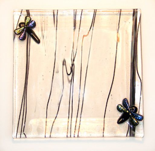 Dichroic Dragonfly Square Plate