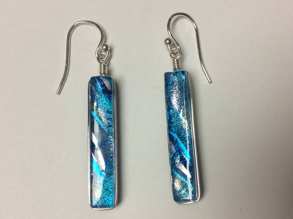 Rectangle Drop Dichroic Earrings