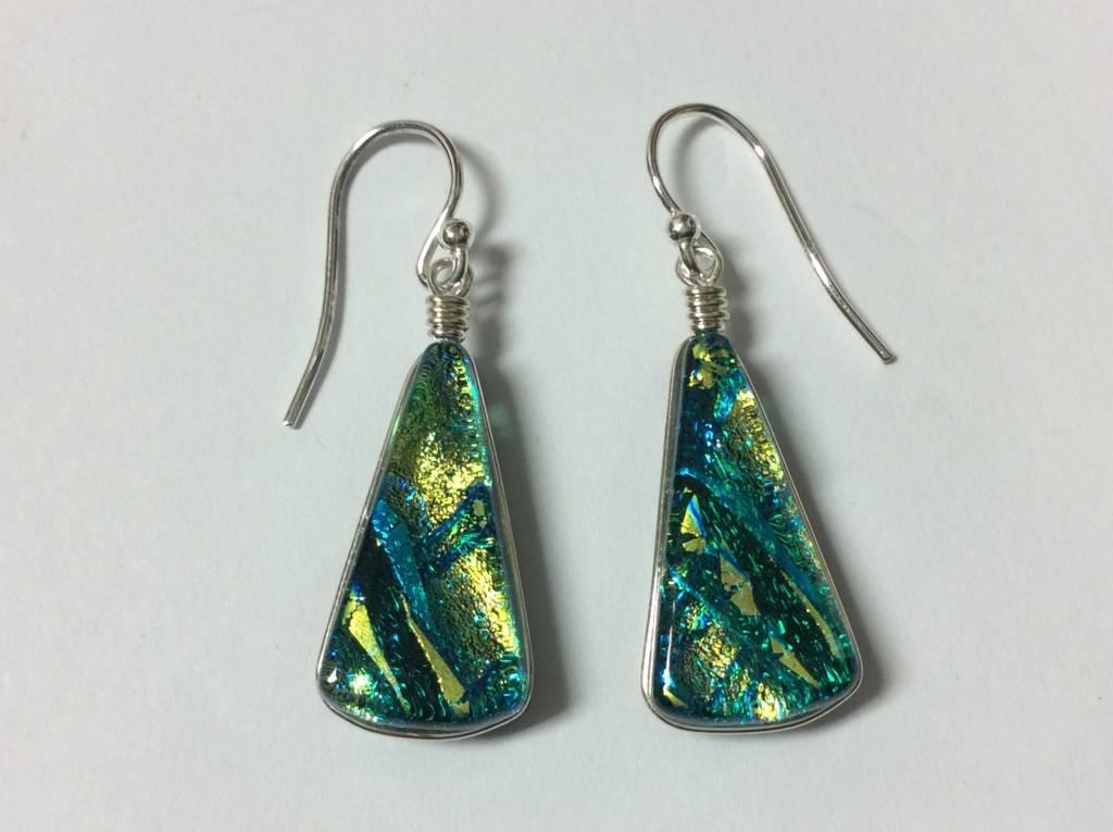 Fan Drop Dichroic Earrings