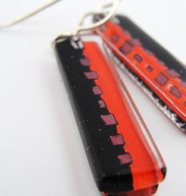 Red & Black Medium Bar Earrings