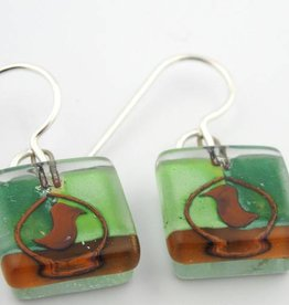Ovenbirds Square Earrings