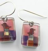 Violet Bird Drop Earrings