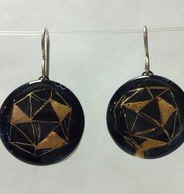 Polyhedra Black Gold Circle Earrings