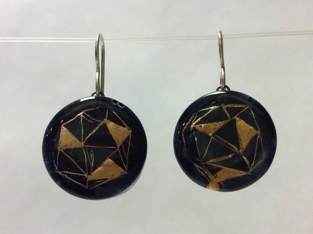 Polyhedra Black Gold Circle Earrings