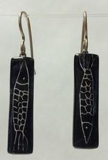 Pisces Black & Silver Medium Bar Earrings