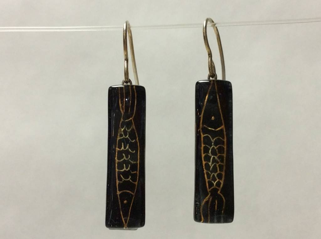 Pisces Black & Gold Medium Bar Earrings