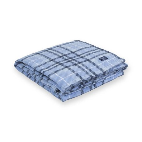 Hatchet Plaid Cotton Blanket - Blue