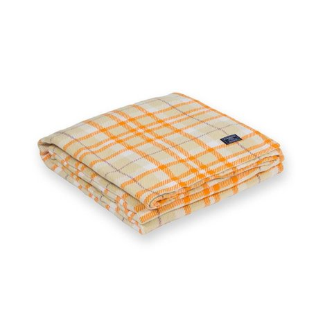 Hatchet Plaid Cotton Blanket - Beige