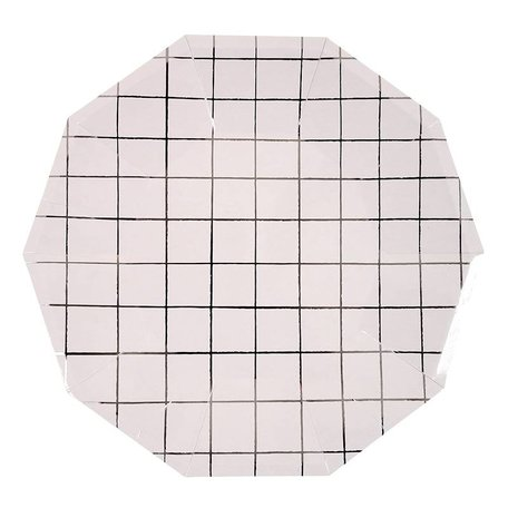 Silver Grid Paper Plates
