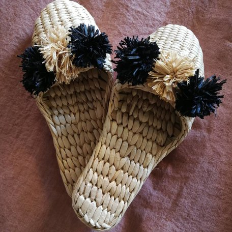 Folk Fortune Pom Pom Slippers - Black