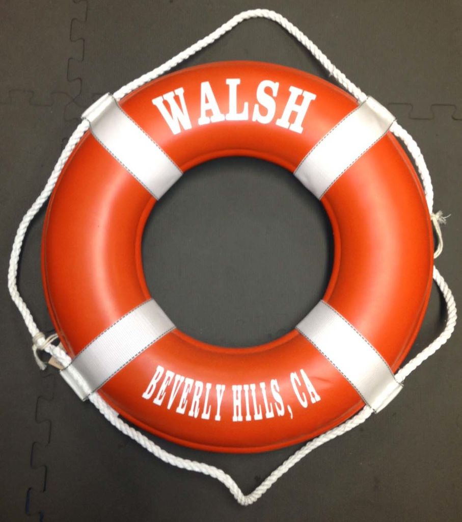 """Fenwick Float-ors Lifering 24"""" Orange (Personalized With White Lettering) (USCG Approved)"""