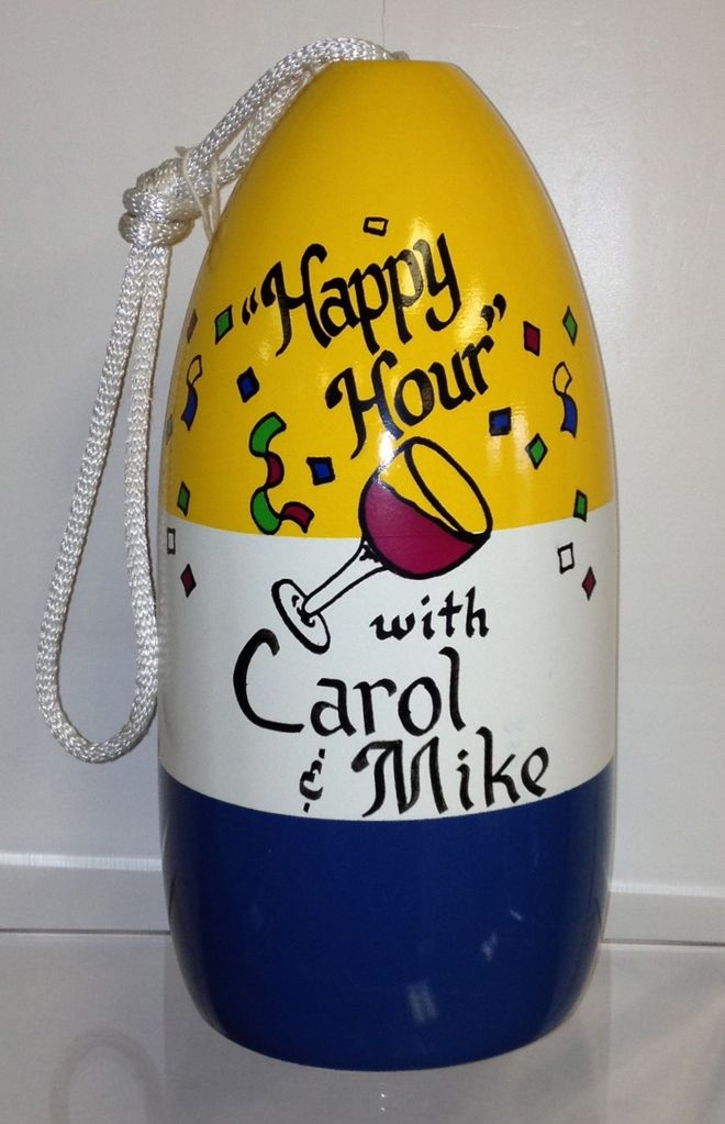 "Fenwick Float-ors Fenwick Float-ors Personalized ""Happy Hour"" Buoy (Yellow, White & Blue)"