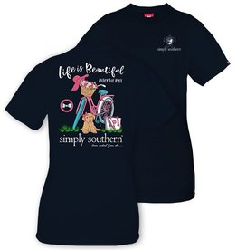Simply Southern LIFE-NAVY-LARGE Short Sleeve Tee by Simply Southern