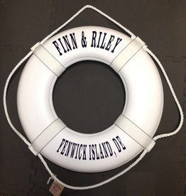 """Fenwick Float-ors Lifering 19"""" White (Personalized With Navy Lettering) (USCG Approved)"""