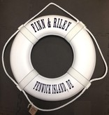 """Fenwick Float-ors Lifering 24"""" White (Personalized With Navy Lettering) (USCG Approved)"""