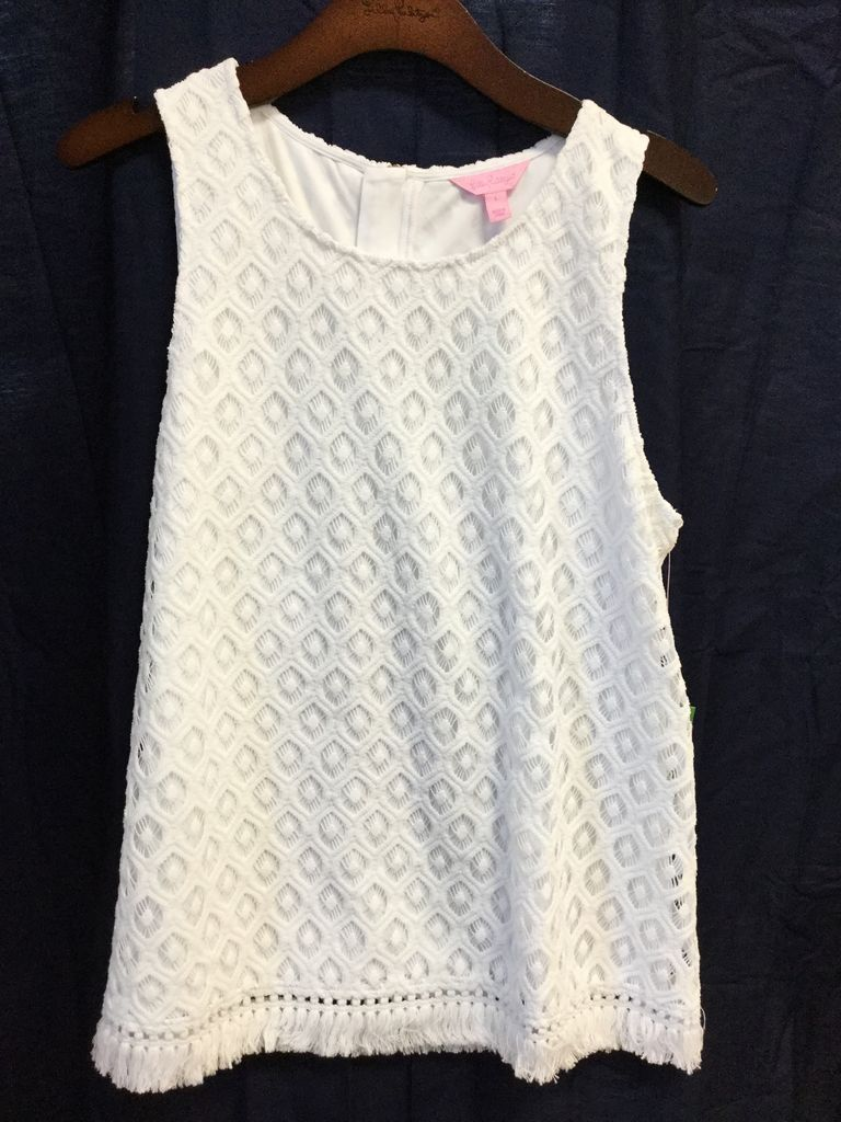 Lilly Pulitzer 24291 115 RK1 L MAYBELLE TOP RESORT WHITE ISLAND TIME KNIT LACE SIZE L by Lilly Pulitzer