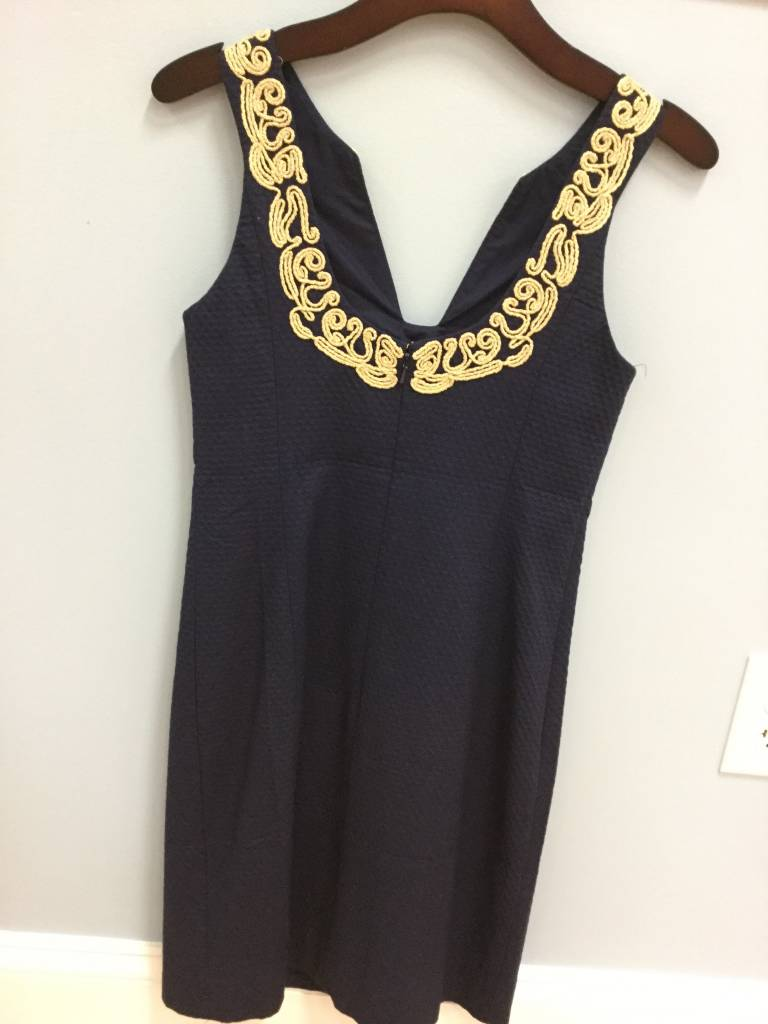 Lilly Pulitzer 25114 408 4 SUZETTE SHIFT TRUE NAVY SIZE 4 by Lilly Pulitzer