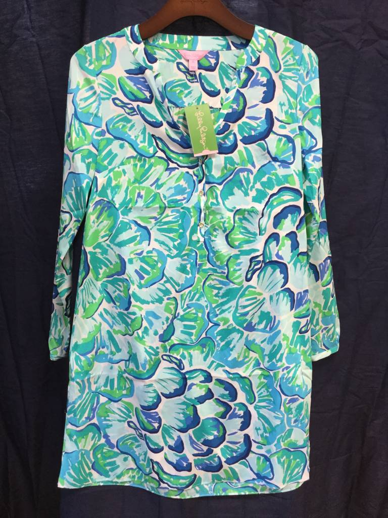 Lilly Pulitzer 25077 391 RD1 M DELPHINE STRETCH SILK TUN AGATE GREEN LAZY RIVER SIZE M by Lilly Pulitzer