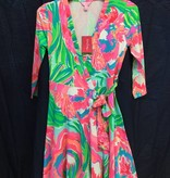 Lilly Pulitzer 25254 460 RE8 XL EMILIA WRAP DRESS SERENE BLUE PARADISE BOUND SIZE XL by Lilly Pulitzer