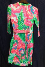 Lilly Pulitzer 25254 460 RE8 L EMILIA WRAP DRESS SERENE BLUE PARADISE BOUND SIZE L by Lilly Pulitzer