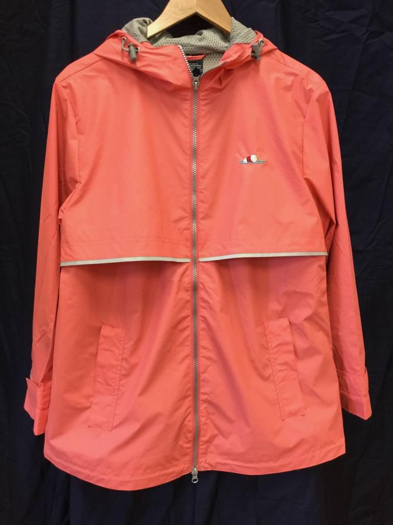 Fenwick Float-ors New Englander Rain Jacket Womens Coral 5099 256 L With Fenwick Float-ors Logo