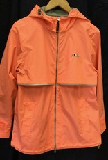 5099 358 S Womens New Englander Rain Jacket in Bright Coral Size S