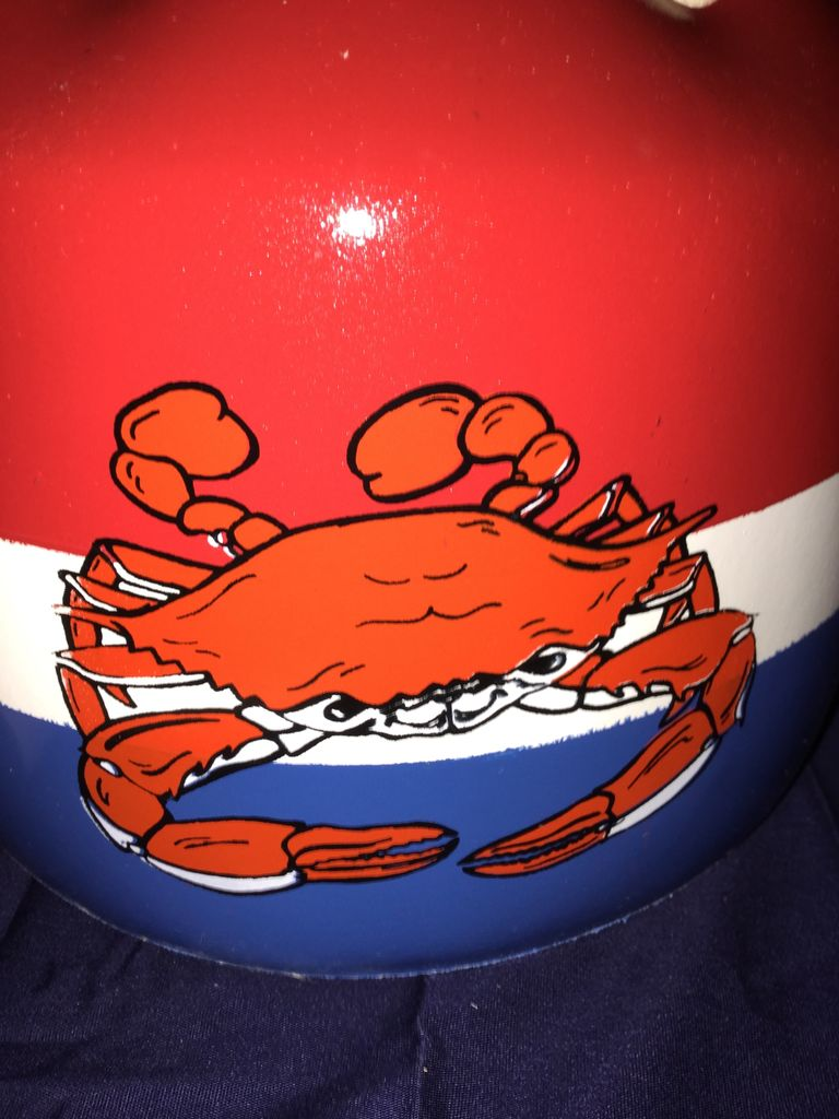 Fenwick Float-ors Crab Mallet Buoy Set - Steamed Crab 2 Design - Red Top / White Stripe / Royal Blue Bottom