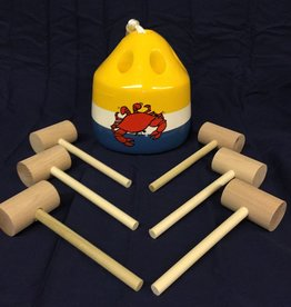 Fenwick Float-ors Crab Mallet Buoy Set - Red Crab - Yellow Top / White Stripe / Royal Blue Bottom