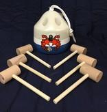 Fenwick Float-ors Crab Mallet Buoy Set - Happy Crab Design - Light Gray Top / White Stripe / Royal Blue Bottom