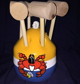 Fenwick Float-ors Crab Mallet Buoy Set - Happy Crab Design - Yellow Top / White Stripe / Royal Blue Bottom