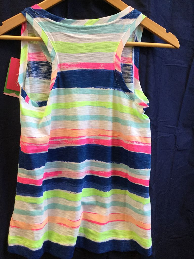 Lilly Pulitzer 25192 999 SB8 L JAYLYNNE TOP MULTI CATS MEOW STRIPE REDUCED SIZE L by Lilly Pulitzer