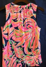 Lilly Pulitzer 97864 409 RE7 M ESSIE TOP RESORT NAVY BANANA FLAMBE SIZE M by Lilly Pulitzer