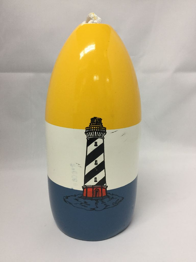 Fenwick Float-ors Chesapeake Buoy, Cape Hatteras DESIGN, Yellow Top / White Stripe/ Royal Blue Bottom  BY FENWICK FLOAT-ORS