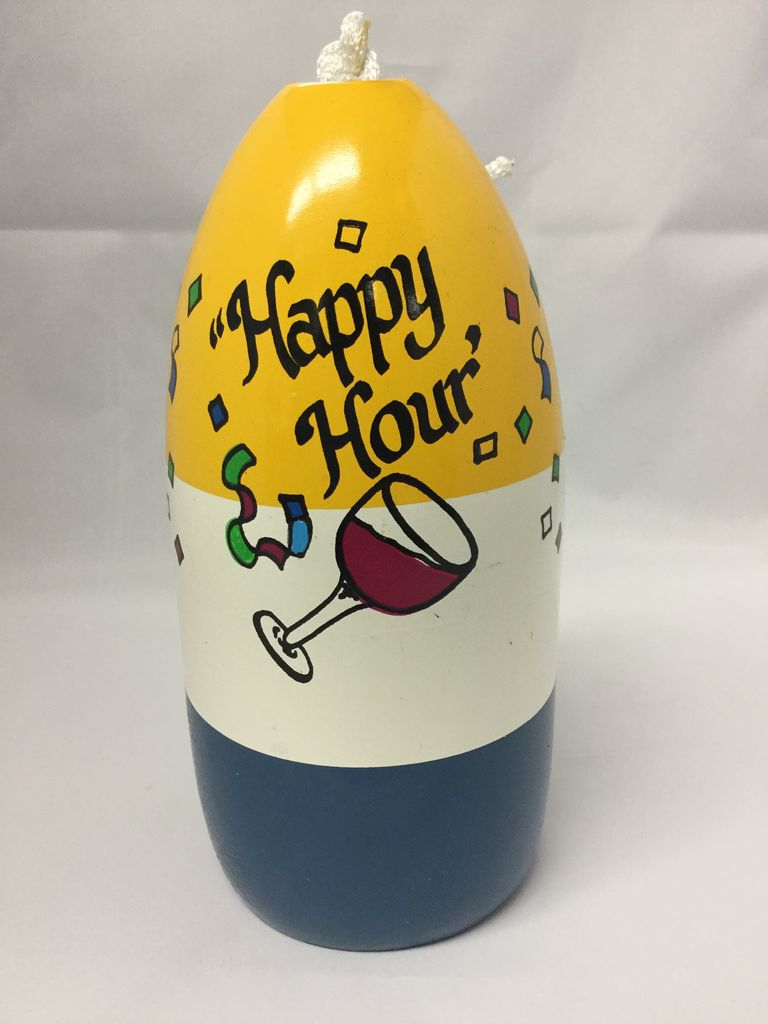 Fenwick Float-ors Chesapeake Buoy, Happy Hour DESIGN, Yellow Top / White Stripe/ Royal Blue Bottom  BY FENWICK FLOAT-ORS