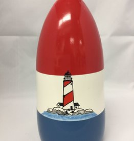 Fenwick Float-ors Chesapeake Buoy, Lighthouse on the Rocks (LOR) DESIGN, Red Top / White Stripe / Royal Blue Bottom  BY FENWICK FLOAT-ORS