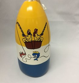 Fenwick Float-ors Chesapeake Buoy, Fishing Couple Design, Yellow Top / White Stripe/ Royal Blue Bottom  by Fenwick Float-ors