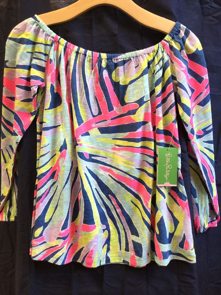 Lilly Pulitzer 26132 527 RH4 S ENNA KNIT TOP INDIGO SEA DREAMIN SIZE S by Lilly Pulitzer