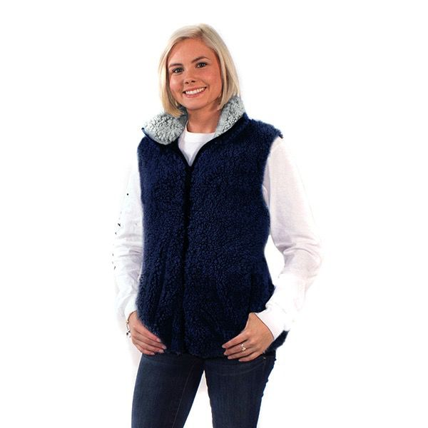 Simply Southern SHERPA-VEST-NAVY-MEDIUM by Simply Southern