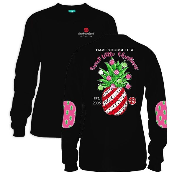 Simply Southern LS-LITTLEXMAS-BLACK-XLARGE Long Sleeve Tee by Simply Southern