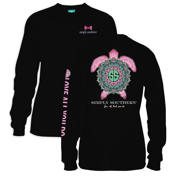 Simply Southern LS-BOHOTURTLE-BLACK-LARGE Long Sleeve Tee by Simply Southern