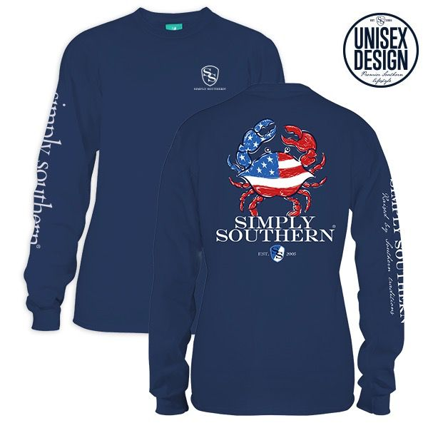 Simply Southern LS-UNISEX-CRAB-MOONRISE-MEDIUM Long Sleeve Tee by Simply Southern