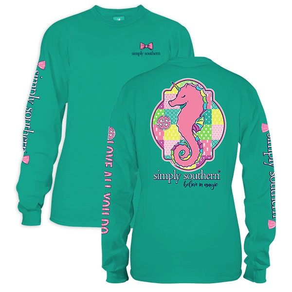 Simply Southern LS-SEAUNI-SEAGLASS-LARGE Long Sleeve Tee by Simply Southern