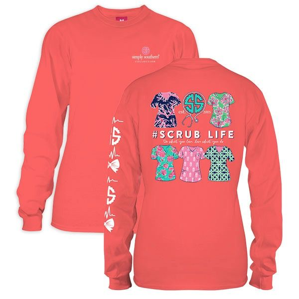 Simply Southern LS-SCRUB-SUNGLOW-LARGE Long Sleeve Tee by Simply Southern