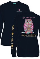 Simply Southern LS-WHOO-NAVY-SMALL Long Sleeve Tee by Simply Southern
