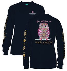 Simply Southern LS-WHOO-NAVY-LARGE Long Sleeve Tee by Simply Southern