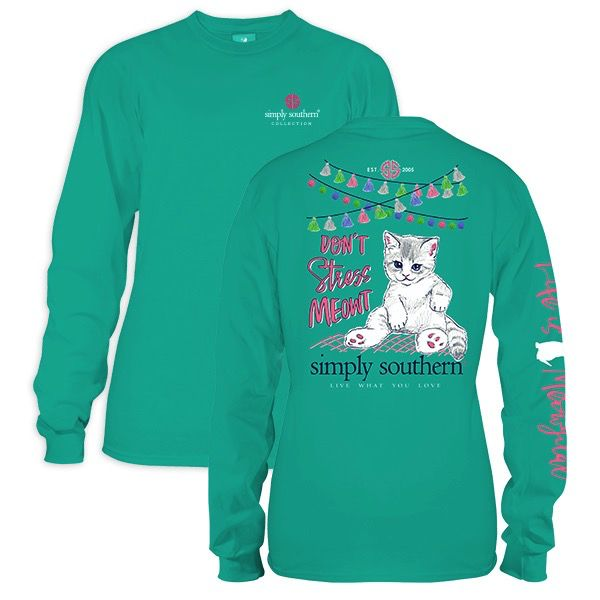 Simply Southern LS-MEOWT-SEAGLASS-MEDIUM Long Sleeve Shirt by Simply Southern