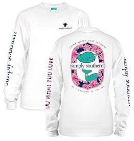 Simply Southern LS-NARWHAL-WHITE-MEDIUM Long Sleeve Tee by Simply Southern