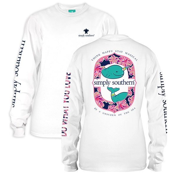 Simply Southern LS-NARWHAL-WHITE-LARGE Long Sleeve Tee by Simply Southern